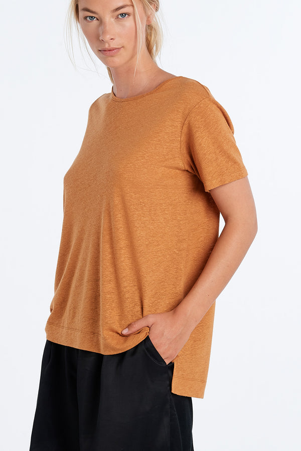 LIFESTYLE LINEN T-SHIRT | RUST - NYNE - NZ Made Women's Clothing