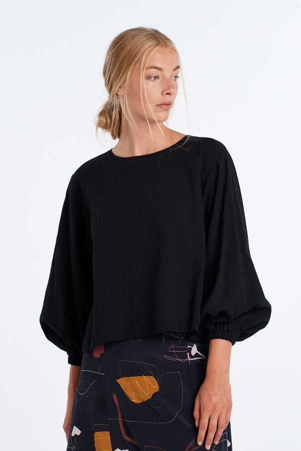 SCALE TOP | BLACK WAFFLE - NYNE - NZ Made Women's Clothing