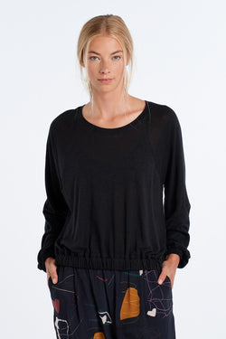 SHAPE LONG SLEEVE | BLACK - NYNE - NZ Made Women's Clothing