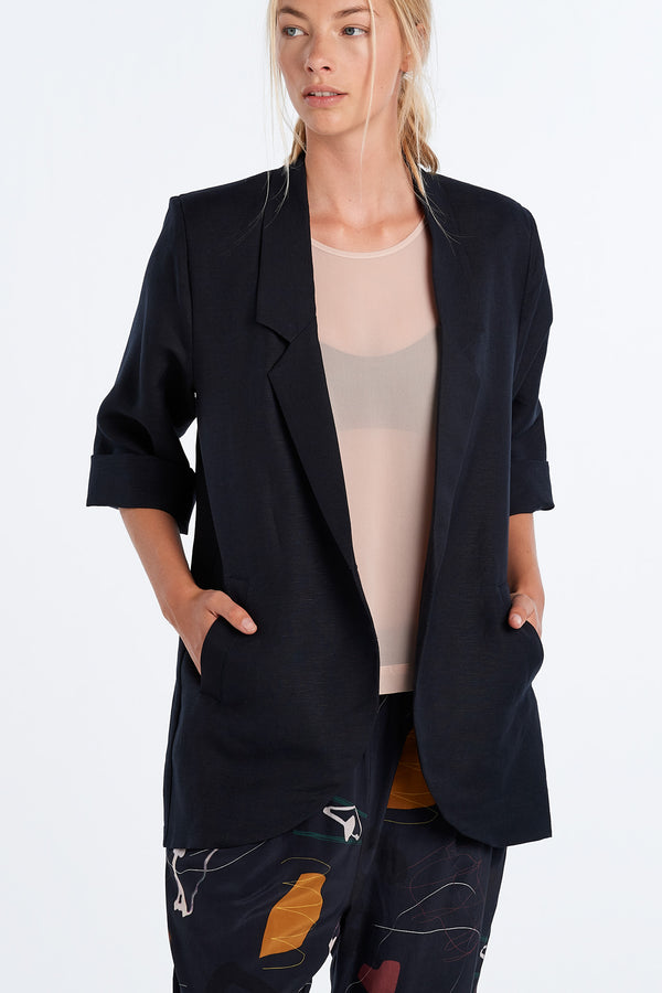 WORLD BLAZER | INK - NYNE - NZ Made Women's Clothing