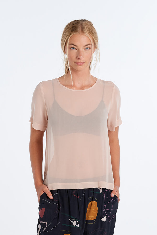 ARC TOP  | BLUSH CHIFFON - NYNE - NZ Made Women's Clothing