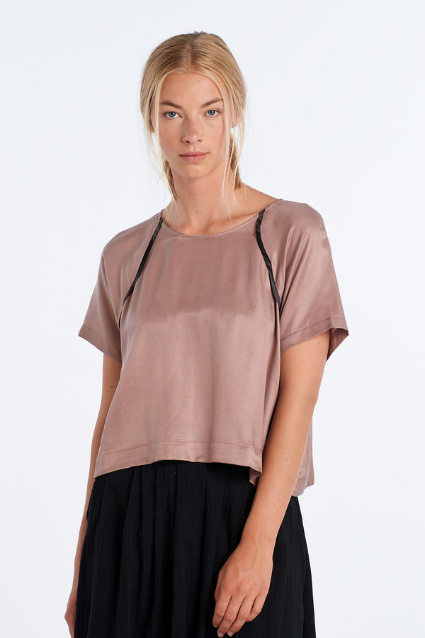 JOURNEY TOP | BLUSH SATIN - NYNE - NZ Made Women's Clothing