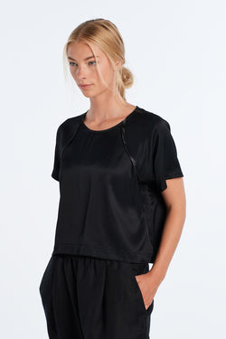 JOURNEY TOP | BLACK SATIN - NYNE - NZ Made Women's Clothing