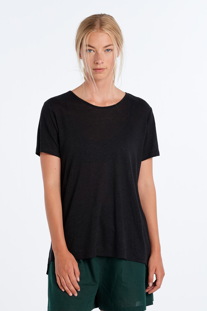LIFESTYLE LINEN T-SHIRT | BLACK - NYNE - NZ Made Women's Clothing