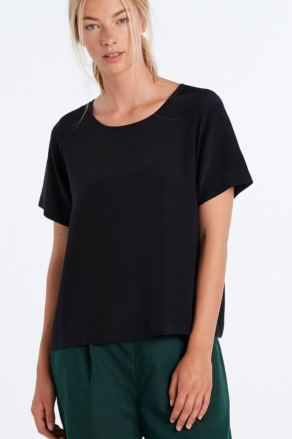 ARC TOP  | BLACK SILK - NYNE - NZ Made Women's Clothing