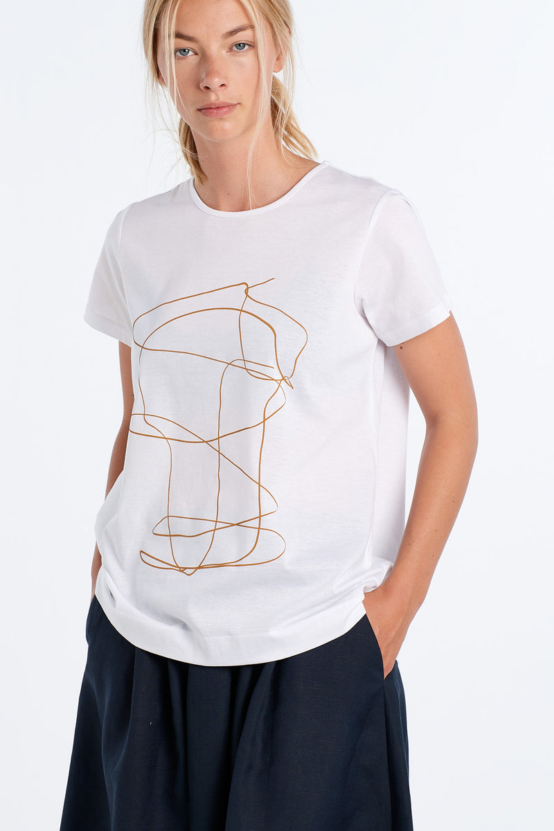 OUTLINE T-SHIRT | WHITE - NYNE - NZ Made Women's Clothing