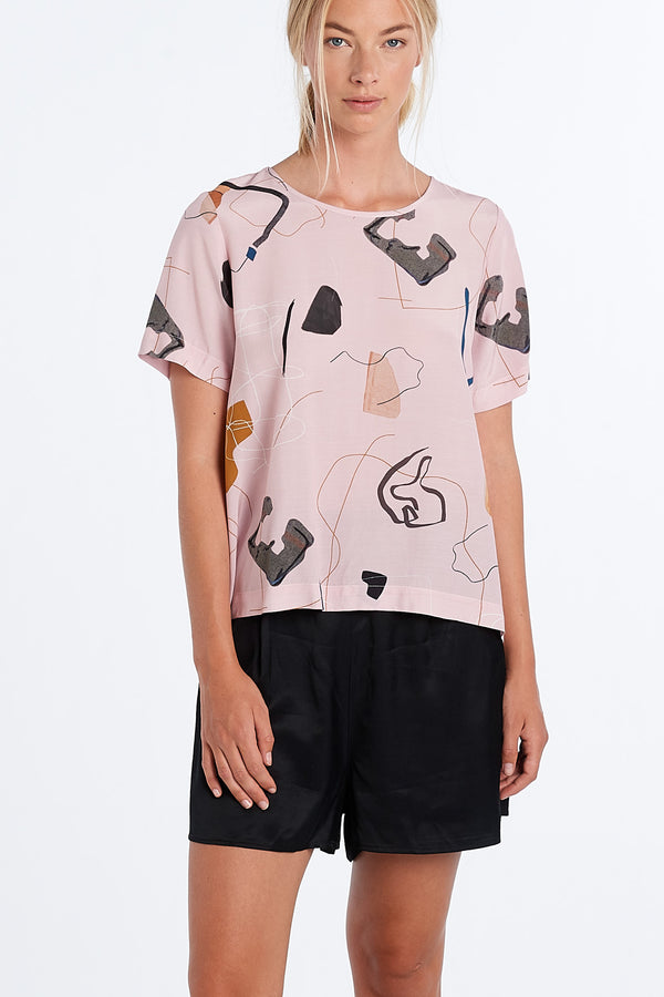 ARC TOP | BLUSH PRINT - NYNE - NZ Made Women's Clothing