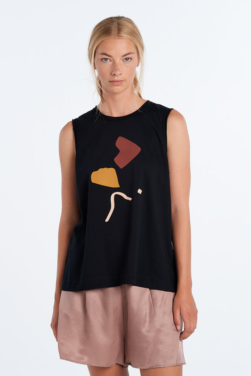 MARNIE SINGLET ABSTRACT | BLACK - NYNE - NZ Made Women's Clothing