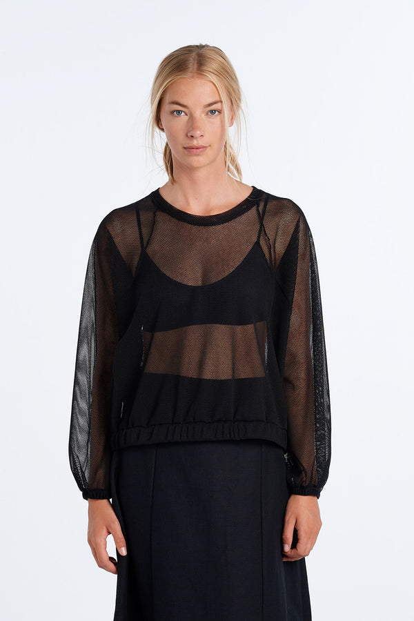 SHAPE LONG SLEEVE | BLACK MESH - NYNE - NZ Made Women's Clothing