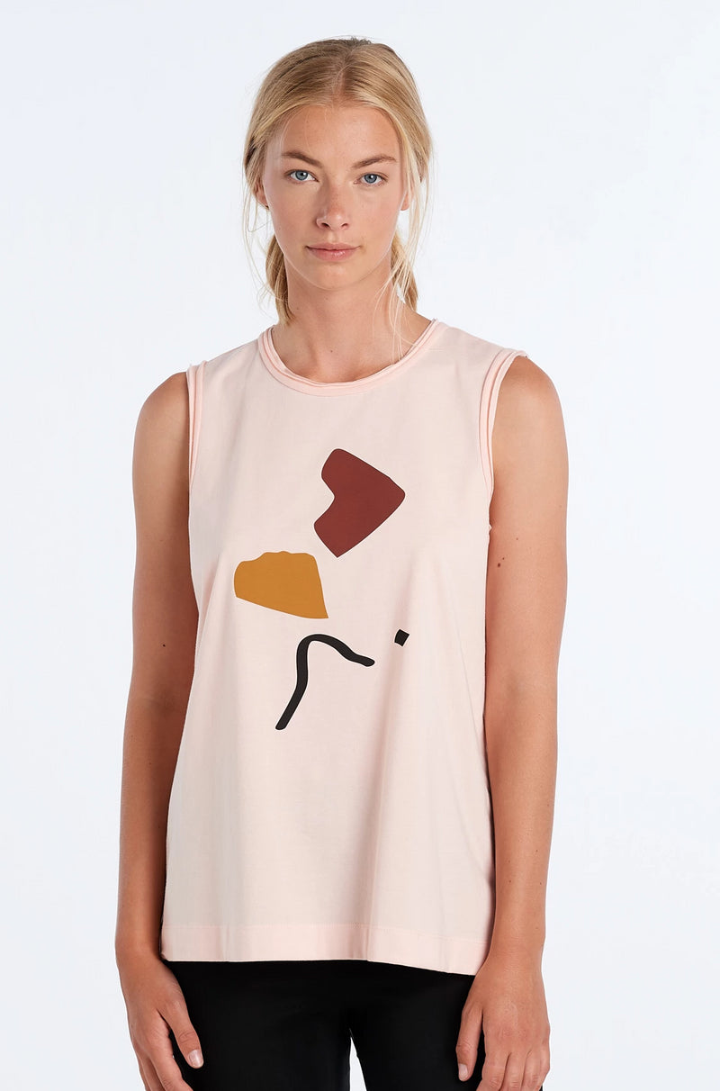 MARNIE SINGLET ABSTRACT | BLUSH - NYNE - NZ Made Women's Clothing