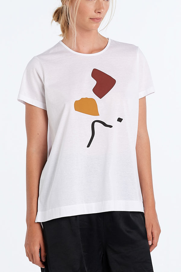 ABSTRACT T-SHIRT | WHITE - NYNE - NZ Made Women's Clothing