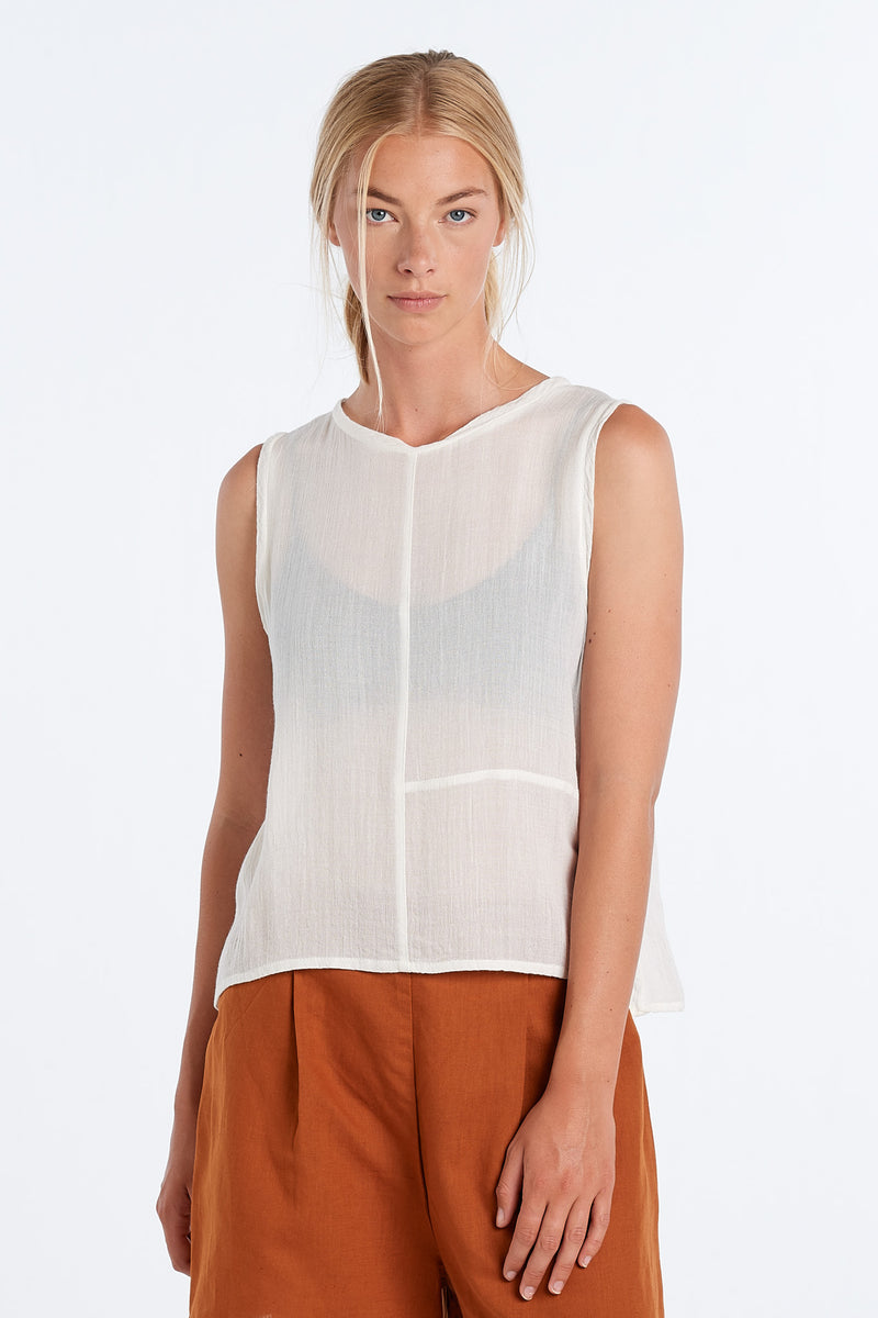 TEXTURE SINGLET | IVORY - NYNE - NZ Made Women's Clothing