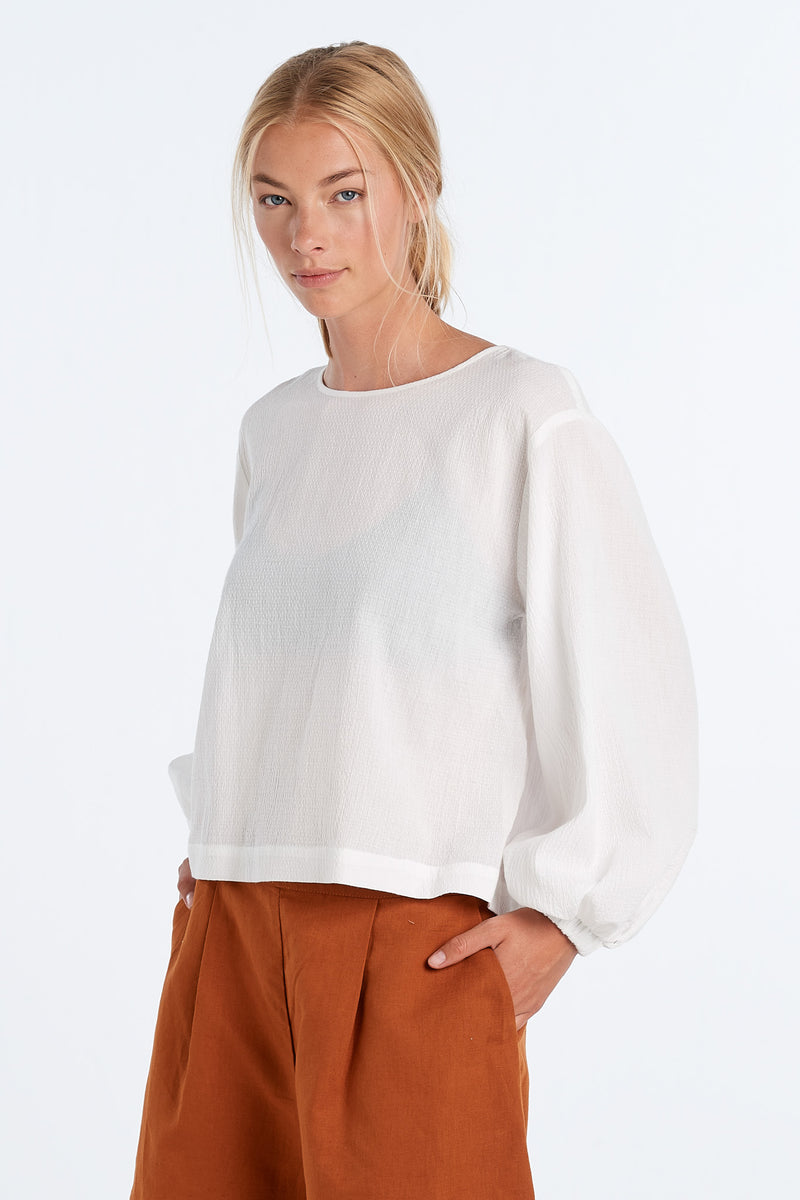 SCALE TOP | IVORY WAFFLE - NYNE - NZ Made Women's Clothing