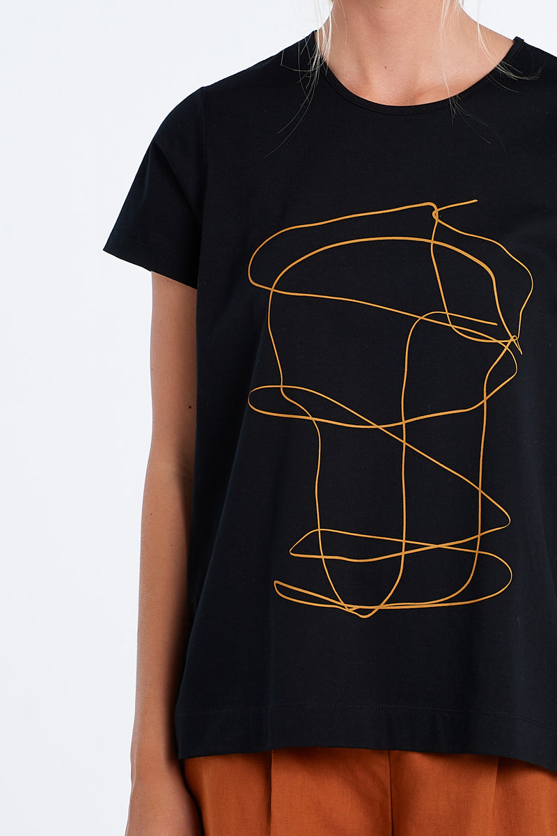 OUTLINE T-SHIRT | BLACK - NYNE - NZ Made Women's Clothing
