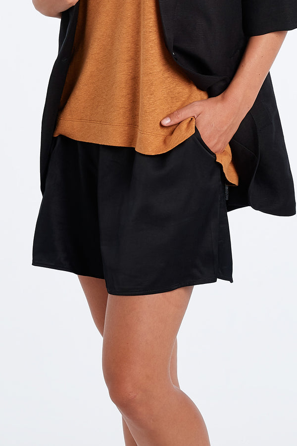 EVERYDAY SHORTS | BLACK SATIN - NYNE - NZ Made Women's Clothing
