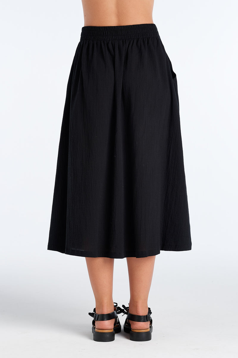 INTUITION SKIRT | BLACK WAFFLE - NYNE - NZ Made Women's Clothing