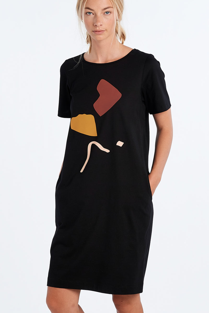 DISTANT DRESS ABSTRACT | BLACK - NYNE - NZ Made Women's Clothing