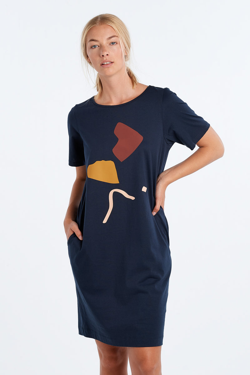 DISTANT DRESS ABSTRACT | INK - NYNE - NZ Made Women's Clothing