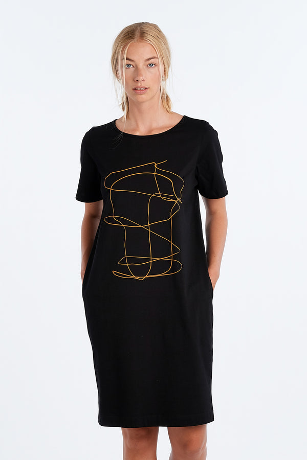 DISTANT DRESS OUTLINE | BLACK - NYNE - NZ Made Women's Clothing