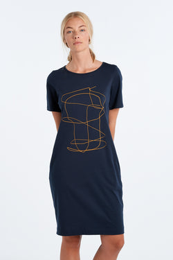DISTANT DRESS OUTLINE | INK - NYNE - NZ Made Women's Clothing