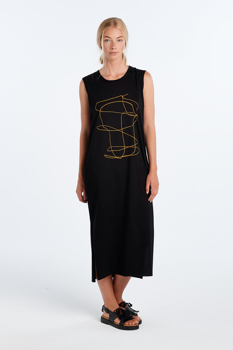 SAMI DRESS OUTLINE | BLACK - NYNE - NZ Made Women's Clothing