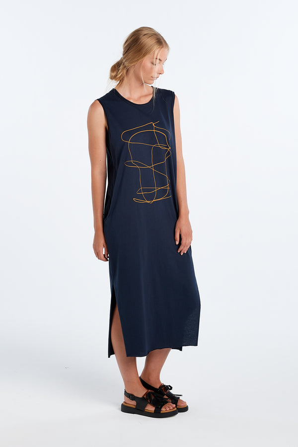 SAMI DRESS OUTLINE | INK - NYNE - NZ Made Women's Clothing