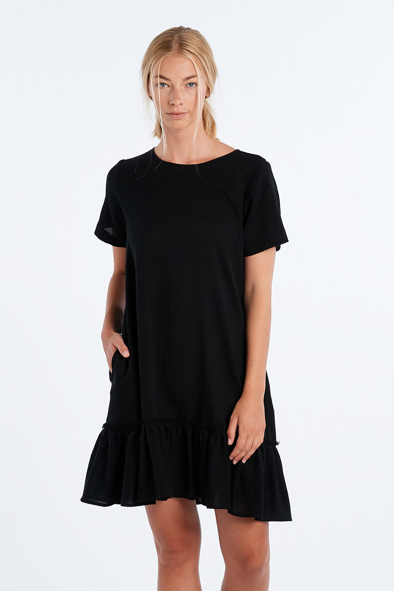 PAINTING DRESS | BLACK GAUZE - NYNE - NZ Made Women's Clothing