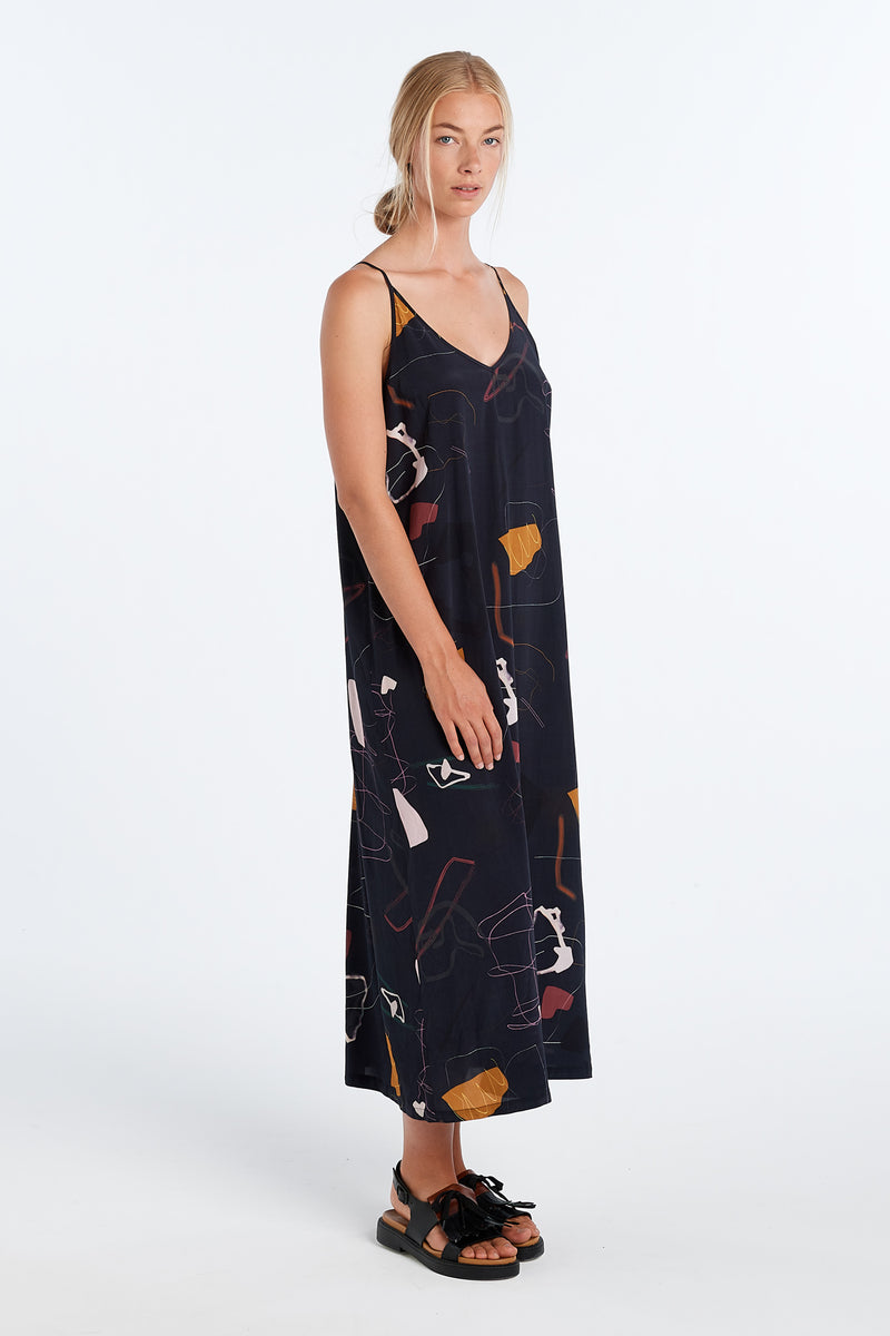 MURAL SLIP DRESS | INK PRINT - NYNE - NZ Made Women's Clothing