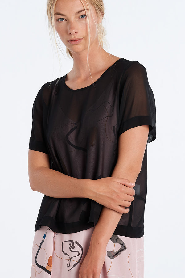 ARC TOP  | BLACK CHIFFON - NYNE - NZ Made Women's Clothing