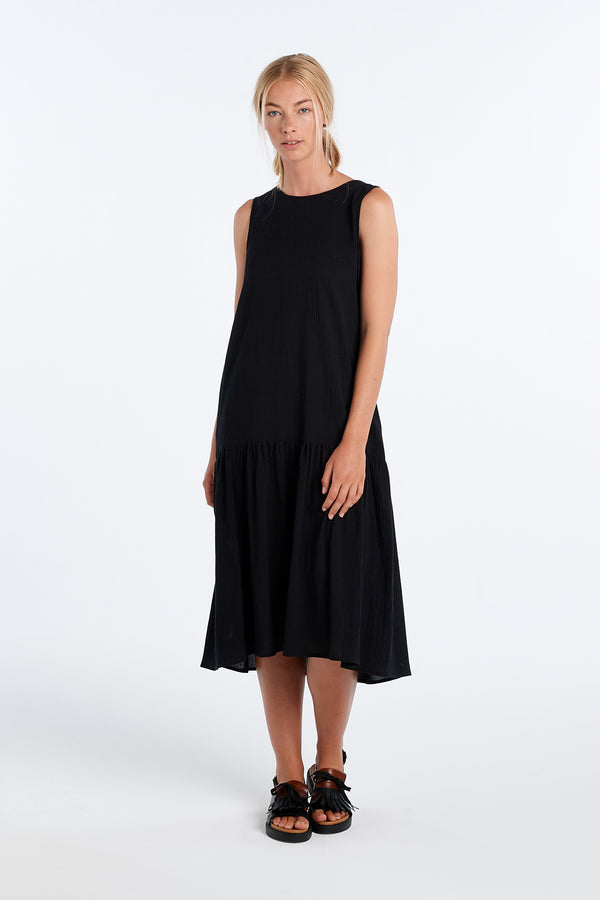 EXPLORE DRESS | BLACK WAFFLE - NYNE - NZ Made Women's Clothing