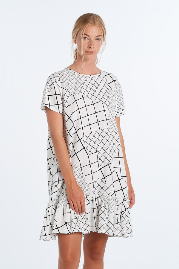 PAINTING DRESS  | IVORY GRID