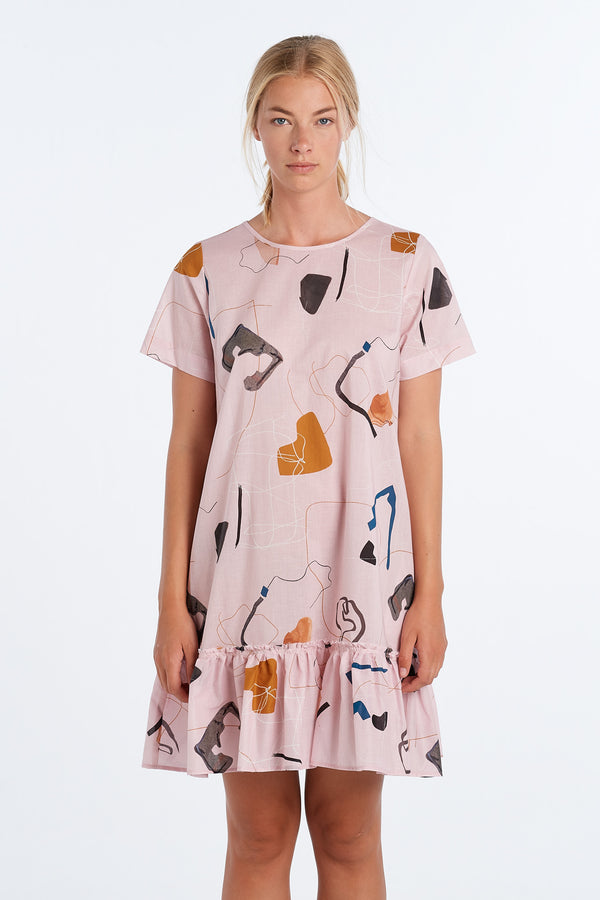 PAINTING DRESS  | BLUSH PRINT - NYNE - NZ Made Women's Clothing