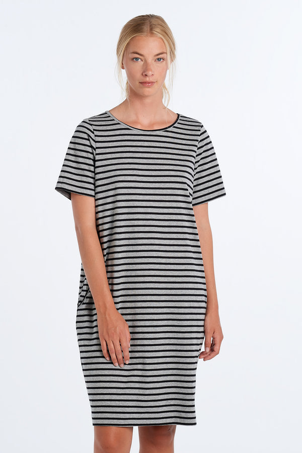 DISTANT DRESS STRIPE | BLACK STRIPE - NYNE - NZ Made Women's Clothing