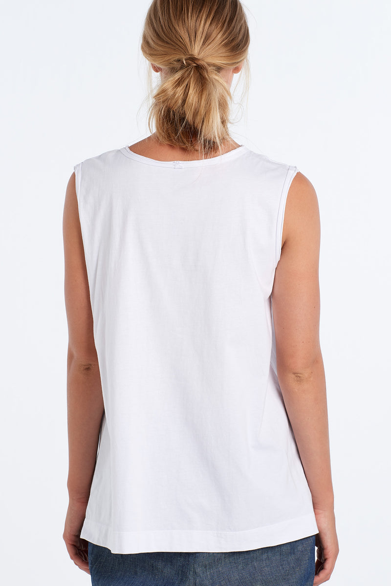 MARNIE SINGLET PEARY | WHITE W BLUSH - NYNE - NZ Made Women's Clothing