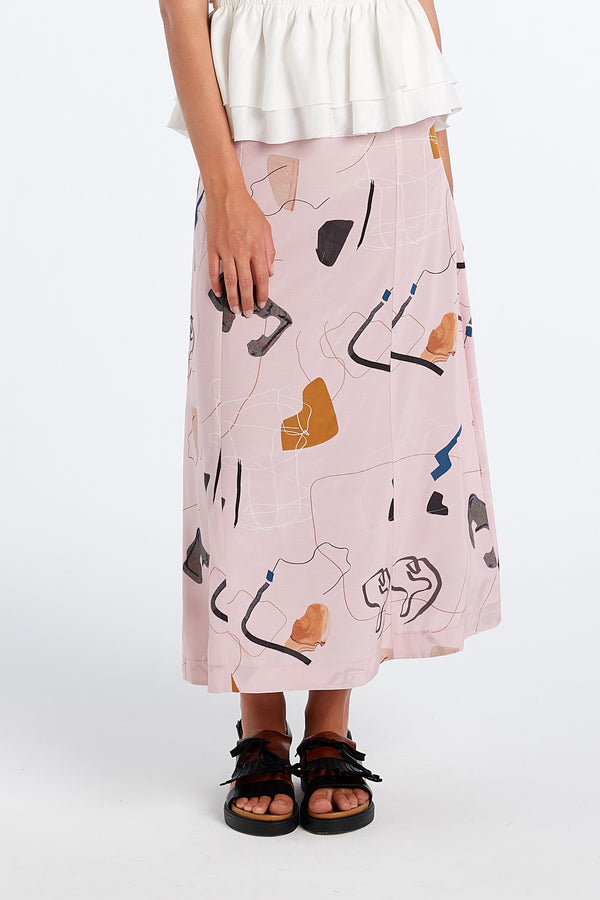 PRACTICE SKIRT | BLUSH PRINT - NYNE - NZ Made Women's Clothing