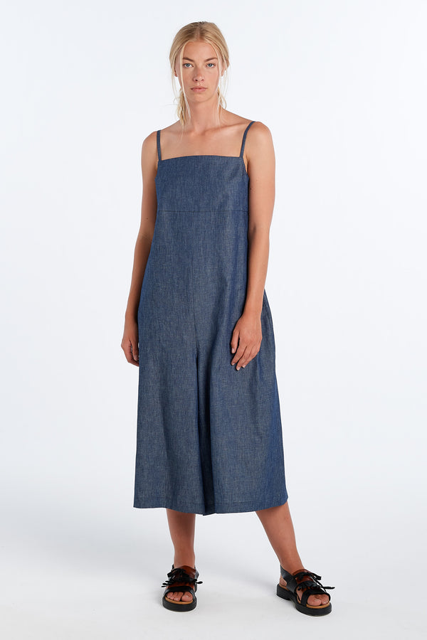 RACHEL ROMPER | CHAMBRAY - NYNE - NZ Made Women's Clothing