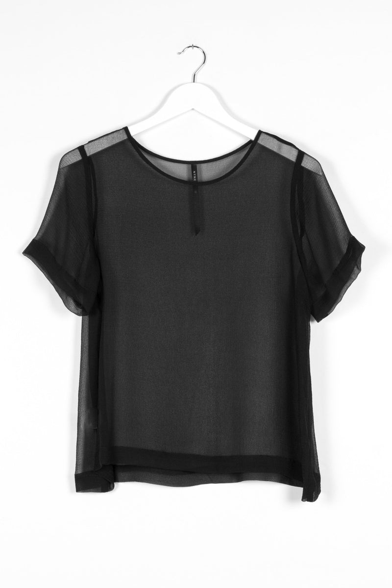 ARC TOP SILK | BLACK CRINKLE - NYNE - NZ Made Women's Clothing