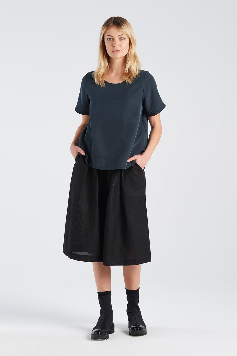 ARC TOP SILK | BLACK INK - NYNE - NZ Made Women's Clothing