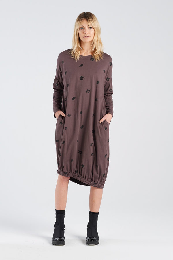 BINET DRESS SPOT | BARK KNIT - NYNE - NZ Made Women's Clothing