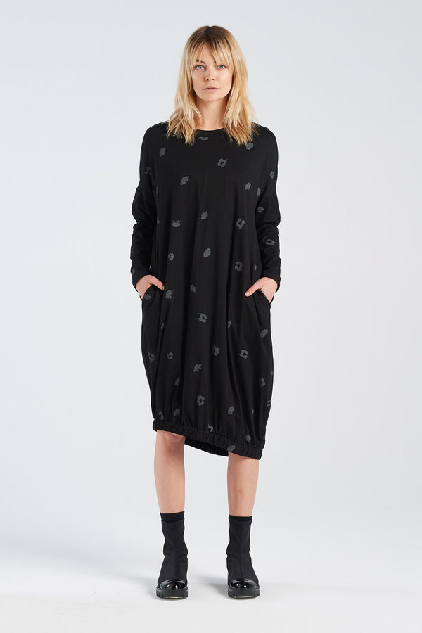 BINET DRESS SPOT | BLACK KNIT - NYNE - NZ Made Women's Clothing