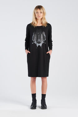 DISTANT DRESS HERMANN | BLACK KNIT - NYNE - NZ Made Women's Clothing