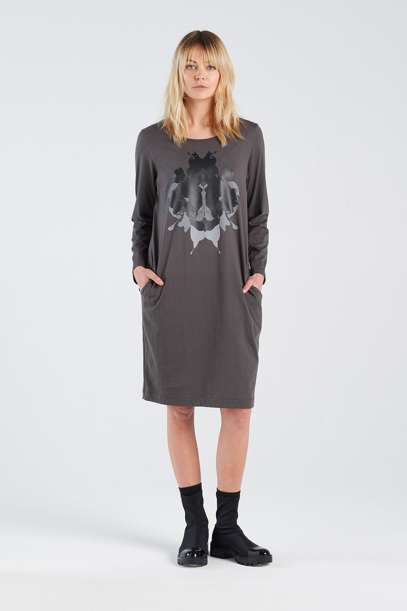 DISTANT DRESS HERMANN | CHARCOAL KNIT - NYNE - NZ Made Women's Clothing