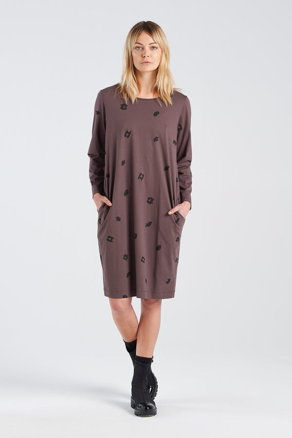 DISTANT DRESS SPOT | BARK KNIT - NYNE - NZ Made Women's Clothing