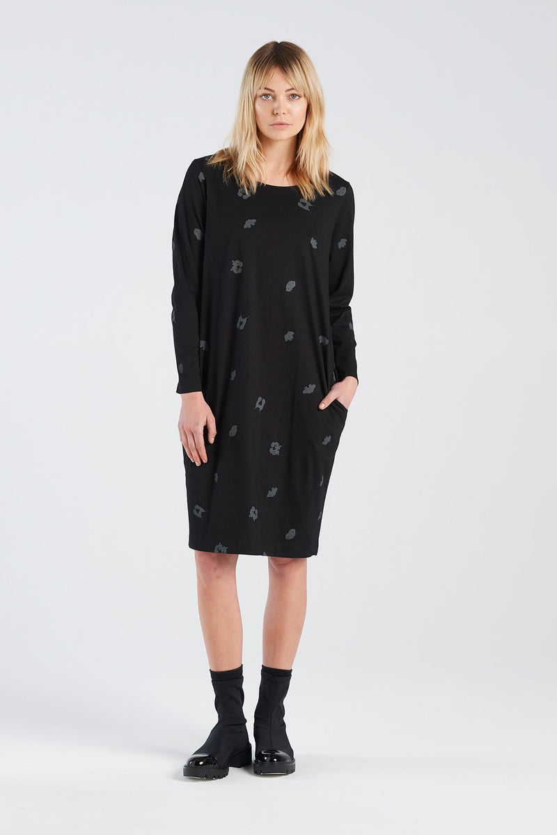 DISTANT DRESS SPOT | BLACK KNIT - NYNE - NZ Made Women's Clothing