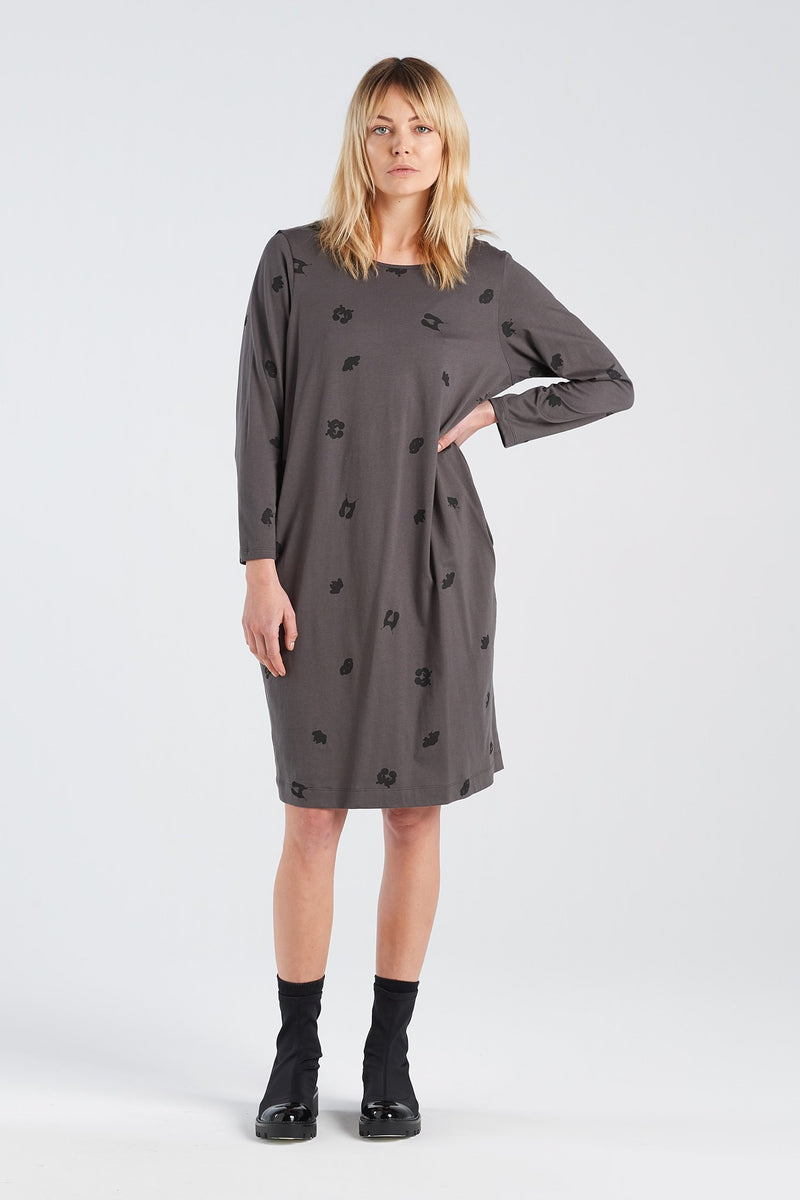 DISTANT DRESS SPOT | CHARCOAL KNIT - NYNE - NZ Made Women's Clothing