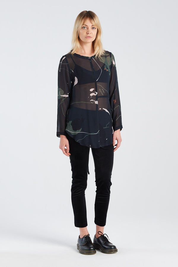 FREUDIAN LONGSLEEVE | RORSCH CHIFFON - NYNE - NZ Made Women's Clothing