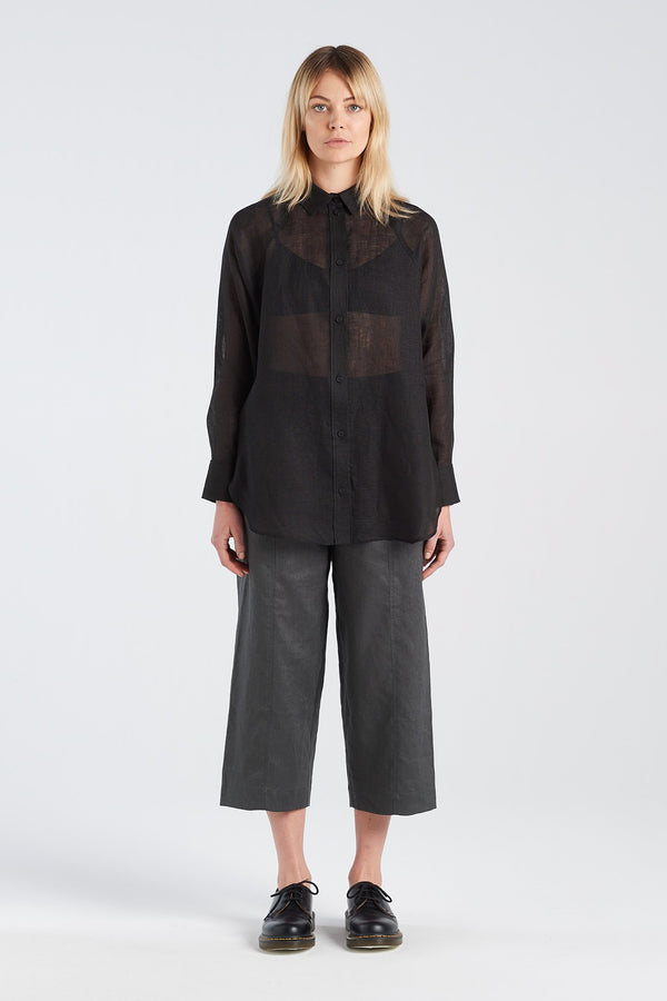 NOCTURNAL SHIRT | BLACK GAUZE - NYNE - NZ Made Women's Clothing