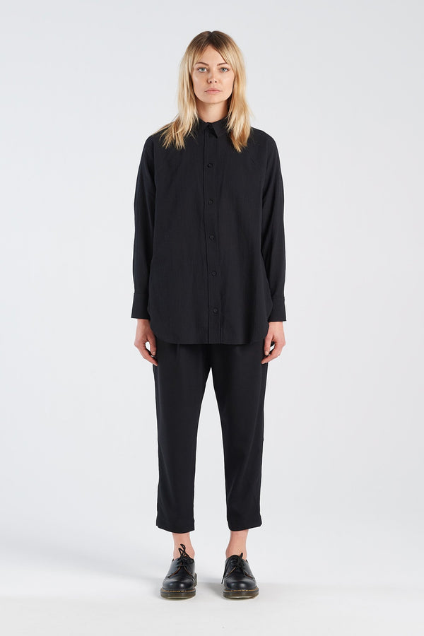 NOCTURNAL SHIRT | BLACK WAFFLE - NYNE - NZ Made Women's Clothing