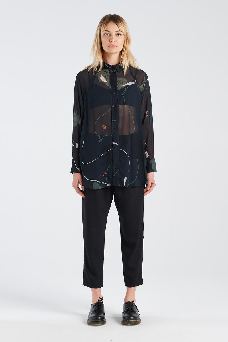 NOCTURNAL SHIRT | RORSCH CHIFFON - NYNE - NZ Made Women's Clothing