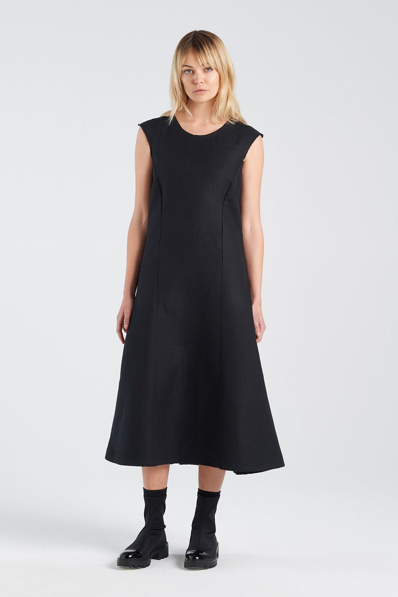 STATEMENT DRESS | BLACK GAUZE - NYNE - NZ Made Women's Clothing